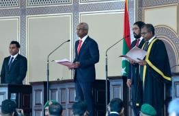 November 17, 2018, Male City: President Ibrahim Mohamed Solih takes his presidential oath. PHOTO: NISHAN ALI/MIHAARU