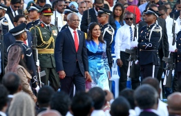 November 17, 2018, Male City: Newly sworn-in President Ibrahim Mohamed Solih and First Lady Fazna Ahmed leave the National Stadium after the inauguration. PHOTO: NISHAN ALI/MIHAARU