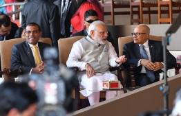 November 17, 2018, Male City: Former Presidents Maumoon Abdul Gayoom (R) and Mohamed Nasheed (L) with Indian Prime Minister Narendra Modi at the inauguration of President Ibrahim Mohamed Solih. PHOTO: NISHAN ALI/MIHAARU