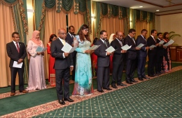 The newly appointed cabinet Ministers during their oath taking ceremony. PHOTO: HUSSAIN WAHEED/MIHAARU
