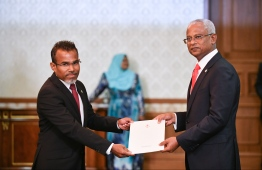 The newly appointed Attorney General Ibrahim Riffath during the oath taking ceremony of the cabinet ministers. PHOTO: HUSSAIN WAHEED/MIHAARU
