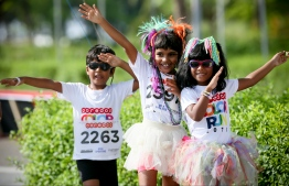 Kids running in the Ooredoo Color Run 2017 held at Hulhumale. PHOTO: OOREDOO MALDIVES