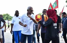 November 18, 2018, Male City: President Ibrahim Mohamed Solih at the 'Dhulhaheyo Hashiheyo Eid' sports festival. PHOTO: AHMED NISHAATH/MIHAARU