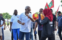 President Ibrahim Mohamed Solih at the 'Dhulhaheyo Hashiheyo Eid' sports festival. PHOTO: AHMED NISHAATH/MIHAARU