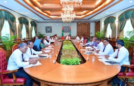 President Ibrahim Mohamed Solih's first cabinet meeting at the President's Office. PHOTO: Ahmed Hamdhoon