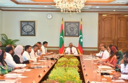 President Ibrahim Mohamed Solih meets with his cabinet. PHOTO/PRESIDENT'S OFFICE