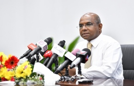 Minister of Foreign Affairs Abdulla Shahid during a press briefing. PHOTO: HASSAN WAHEED/MIHAARU