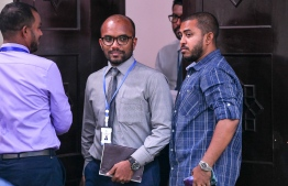 Minister of Finance and Treasury Ibrahim Ameer (C) during the budget review committee meeting. PHOTO: NISHAN ALI/MIHAARU
