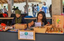 Crafts collective 'Dream Weaver' with their signature dream catchers and more during the 5-year anniversary show of 'Fannuge Dharin'. PHOTO: AHMED NISHAATH/MIHAARU