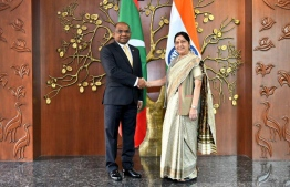 Minister of Foreign Affairs, Abdulla Shahid meets with the Indian Minister of External Affairs, Sushma Swaraj. PHOTO: MINISTRY OF FOREIGN AFFAIRS