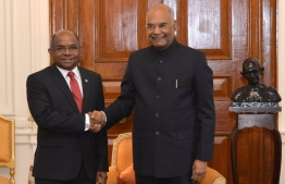 Minister of Foreign Affairs, Abdulla Shahid meets Indian President Ram Nath Kovind. PHOTO: TWITTER/PRESIDENT OF INDIA