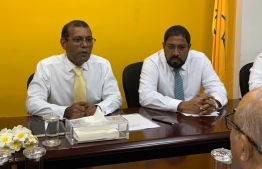 MDP President Mohamed Nasheed and JP leader Gasim Ibrahim during a meeting. PHOTO: MIHAARU