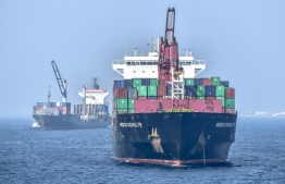 A container ship carrying imported cargo to Maldives. Ministry of Economic Development amended the import export regulations recently. PHOTO: NISHAN ALI / MIHAARU
