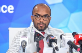 Minister of Finance Ibrahim Ameer speaks at press conference. PHOTO/MIHAARU