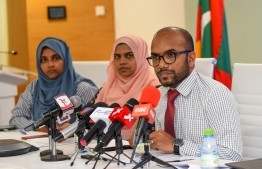 Minister of Finance Ibrahim Ameer (R) and other senior officials at a press conference. The ministry states that Elections Commission (EC) only requested for the party funds of three political parties. PHOTO: MIHAARU FILES