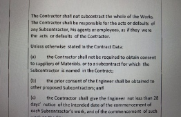 Contract clause stating that the contractor may not subcontract the whole of the works