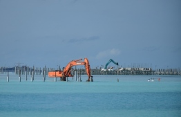 One of the largest lagoons 'Emboodhoo' in Kaafu Atoll, being reclaimed for resort development. PHOTO: MIHAARU