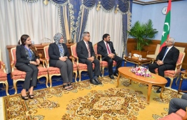 Parliament's Counsellor General Fathimath Filza (L) meets President Ibrahim Mohamed Solih (R). PHOTO: PRESIDENT'S OFFICE