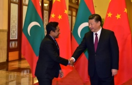 Former Maldives' president Abdulla Yameen Abdul Gayoom (L) greets Chinese incumbent president Xi Jinping. PHOTO: PRESIDENT'S OFFICE
