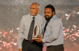 Abdullah Jameel (Mihaaru) wins Journalism Award for Business and Economy Category, beating out Fathmath Shanaa Mohamed (RaajjeMV) and Mohamed Afrah (Avas) / PHOTO: MIHAARU