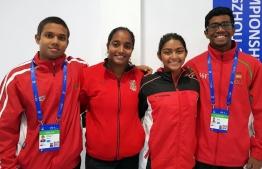 Participating Maldivian athletes in FINA World Swimming Champions (L-R): Mubal Azzam Ibrahim, Aishath Sausan, Hamna Ahmed, Ali Imaan. PHOTO: FILE PHOTO/MIHAARU