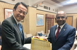 Foreign Minister Abdulla Shahid (R) pays courtesy call on Deputy Prime Minister and Minister of Finance of Japan, Taro Aso. PHOTO/FOREIGN MINISTRY