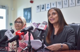 Education Minister Dr. Aishath Ali addresses Thursday's press conference. PHOTO: NISHAN ALI/MIHAARU