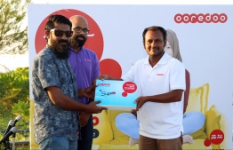 Function to launch Ooredoo's high speed SuperNet Fixed Broadband services in Thinadhoo, Gaaf Dhaalu Atoll, on Sunday. PHOTO: OOREDOO