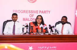 Aishath Azima Shakoor (C) of former President Abdulla Yameen's legal team speaks at press conference. PHOTO: AHMED NISHAATH/MIHAARU