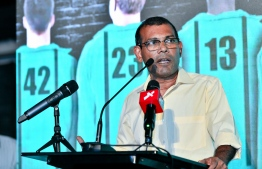 Former President Mohamed Nasheed speaks at the campaign launching of MDP's Anas Abdul Sattar. PHOTO/MIHAARU