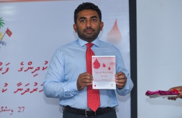 Minister of Health Abdulla Ameen announces a nationwide system for managing Thalassemia treatments. PHOTO: MIHAARU