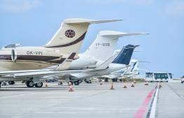 Some jets parked in Velana International Airport. PHOTO: NISHAN ALI / MIHAARU