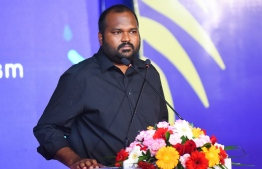 Minister of Tourism Ali Waheed at the opening ceremony of the Guesthouse Symposium. PHOTO: ALI NISHAATH / MIHAARU