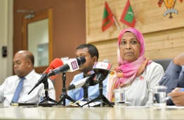 Former Minister of Housing and Urban Development Aminath Athifa at press conference. PHOTO: HUSSAIN WAHEED / MIHAARU