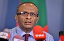 Commission on Investigation of Murders and Enforced Disappearances' President Husnu al-Suood speaks at press conference. PHOTO: NISHAN ALI/ MIHAARU
