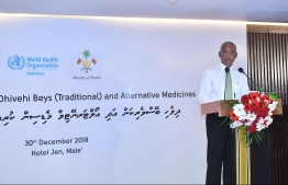 President Ibrahim Mohamed Solih speaking at the National Symposium on Traditional and Alternative Medicine. PHOTO: HUSSAIN WAHEED / MIHAARU