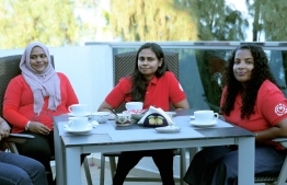Leading team of Tiny Hearts Maldives sits with The Edition. Right to left; Vice Chairperson Limya, Board member Maee, Treasurer Rishmy. PHOTO: HAWWA AMAANY ABDULLA / THE EDITION