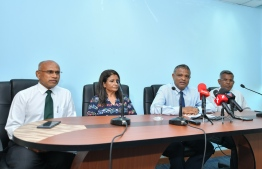 Senior officials of the Ministry of Higher Education speak to the press. PHOTO: AHMED NISHAATH / MIHAARU