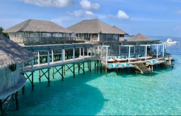 Six Senses Laamu's interconnected web of stilted restaurants, bars, reception, boutique and dive centre make up the largest overwater amenity facility in the Maldives. PHOTO: HAWWA AMAANY ABDULLA / THE EDITION