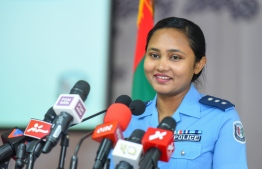 Maldives Police Service Spokesperson and Chief Inspector of Police Izmia Zahir, during the press conference held on Tuesday. PHOTO: AHMED NISHAATH/MIHAARU