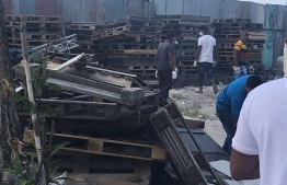 Some of the pallets removed from Male City roads. PHOTO: MALE CITY COUNCIL
