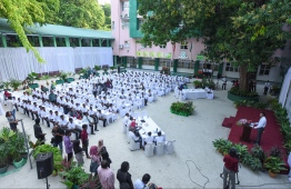 Students of Aminiya School settle down for breakfast provided under the government-initiated 'School Breakfast' programme, on the first day of the academic year in 2019. FILE PHOTO: HUSSAIN WAHEED / MIHAARU
