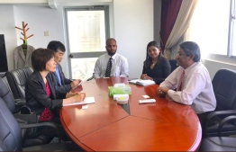 Ambassador of Japan to Maldives, Keiko Yanai, pays courtesy call on State Minister for Foreign Affairs, Ahmed Khaleel. PHOTO/FOREIGN MINISTRY
