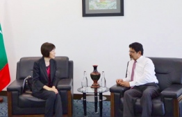 Ambassador of Japan to Maldives, Keiko Yanai, pays courtesy call on Foreign Secretary Abdul Ghafoor Mohamed. PHOTO/FOREIGN MINISTRY