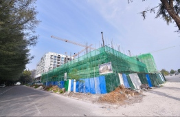 A construction site in Hulhuamale'. PHOTO: HUSSAIN WAHEED / MIHAARU
