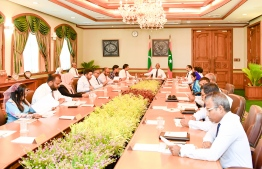President Ibrahim Mohamed Solih sits down with his Cabinet members. PHOTO/PRESIDENT'S OFFICE