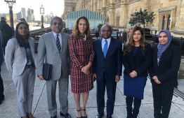 Minister of Foreign Affairs Abdulla Shahid and members of the Maldivian delegation which accompanied him on the official trip to the UK. PHOTO: MINISTRY OF FOREIGN AFFAIRS