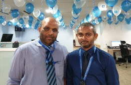 Newly appointed Allied Insurance MD Shafaz Mohamed (L) and his predecessor Ahmed Ameel. PHOTO: FACEBOOK