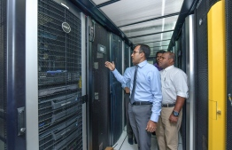 Minister of Science, Communication and Technology Maleeh Jamaal giving a tour of the ministry to journalists in early 2019. During the shutdown of government institutions due to the COVID-19 outbreak, offices functioned with minimal on-duty staff to complete necessary tasks, while the majority of employees worked from home. PHOTO: MIHAARU