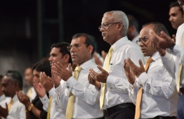 President Ibrahim Mohamed Solih (m) and Parliament Speaker Nasheed next to him on left at MDP Parliament Primary -- Photo: Nishan Ali/ Mihaaru